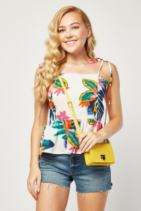 Tropical Print Cami Peplum Tops