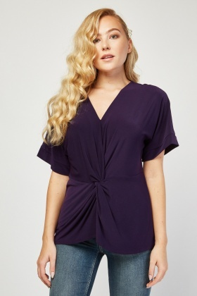 Twisted Front Batwing Sleeve Top