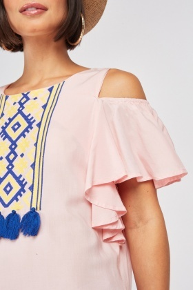 Aztec Tassel Cold Shoulder Dress
