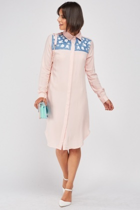Faux Pearl Trim Shirt Dress