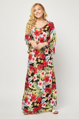 Long Sleeve Shirred Waist Panel Maxi Dress