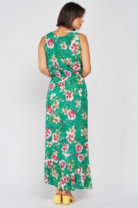 Mix Floral Print Maxi Wrap Dress