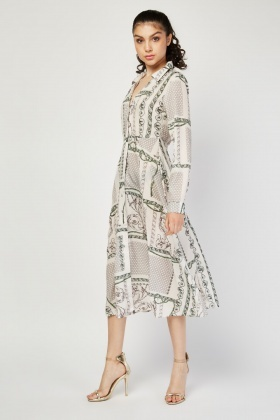 Vintage Chain Scarf Print Shirt Dress