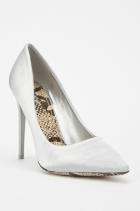 Silver Sateen Court Heels