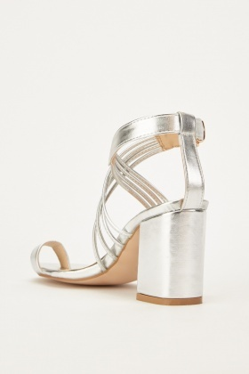 Silver Strappy Ankle Block Heel Sandals