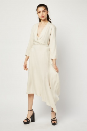 Asymmetric Hem Midi Wrap Dress