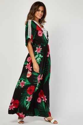 Crochet Trim Tropical Maxi Dress