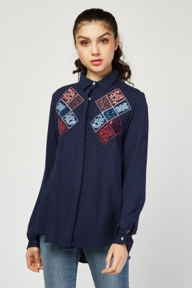 Embroidered Sequin Front Shirt