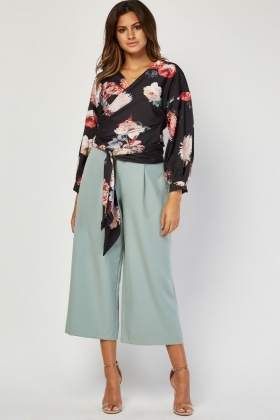 Flower Print Tie Up Wrap Blouse