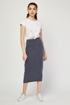 High Waist Middle Grey Pencil Skirt