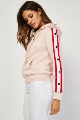 Hooded Jacket With Popper Stripe Trim