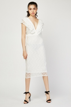 Low Plunge Midi Lace Dress