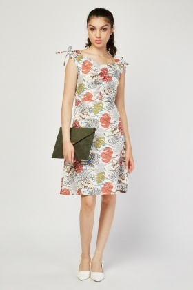 Printed Ruched Front A-Line Dress