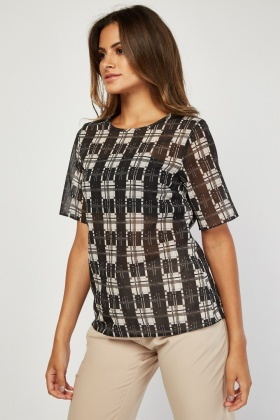 Short Sleeve Sheer Geo Print Top