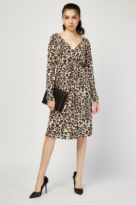 Twisted Front Leopard Print Dress