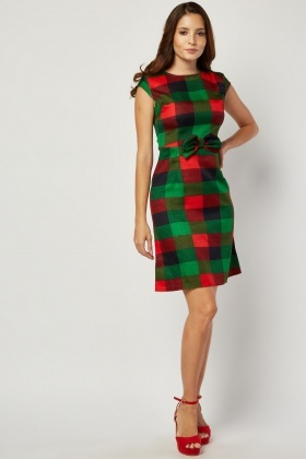 Bow Trim Multi Check Dress