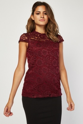 Lace Front Panel Wine Top