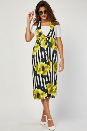 Low Plunge Printed Halter Dress