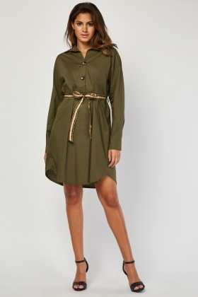 Metallic Woven Belted Tunic Dress