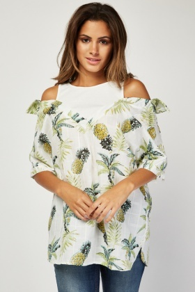 Vest Insert Tropical Print Shirt