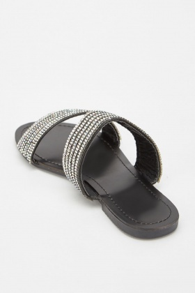 Encrusted Strap Flat Sandals