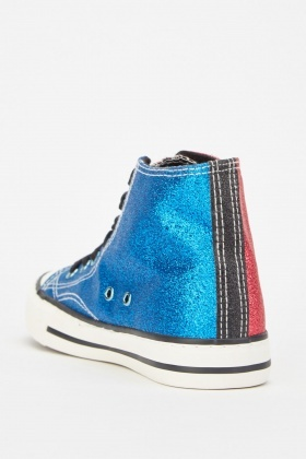 Glittery Stitched Trim High Top Sneakers