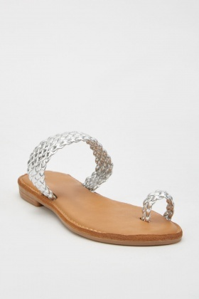 Metallic Braided Toe Loop Sandals