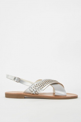 Metallic Plaited Strap Sandals