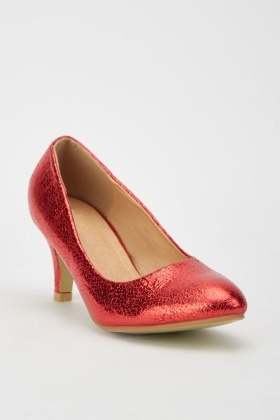 Red Textured Kitten Heels