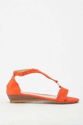 Triangle Strap Low Wedge Sandals