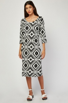 3/4 Sleeve Aztec Print Dress