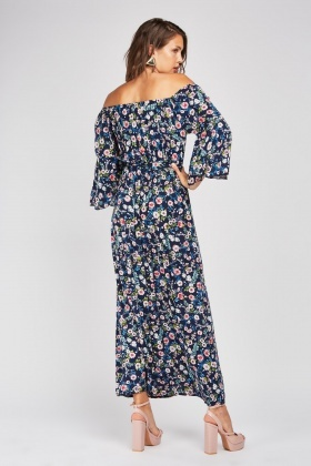 Floral Print Bell Sleeve Maxi Dress