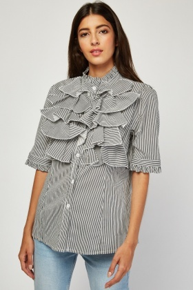 Layered Ruffle Trim Stripe Blouse