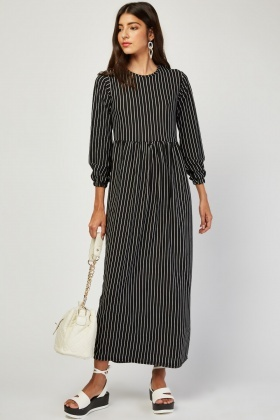 Long Sleeve Pin Striped Maxi Dress