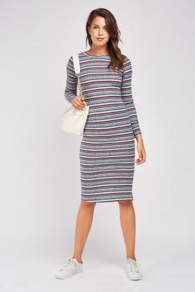 Midi Stripe Rib Knit Dress