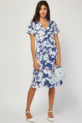 Printed Draped Front Wrap Dress