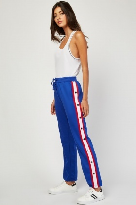 Stripe Popper Side Tracksuit Bottoms