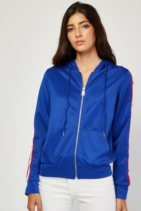 Stripe Popper Side Zip Up Hoodie