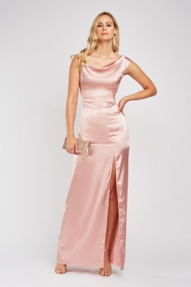 Slanted Shoulder Draped Sateen Dress