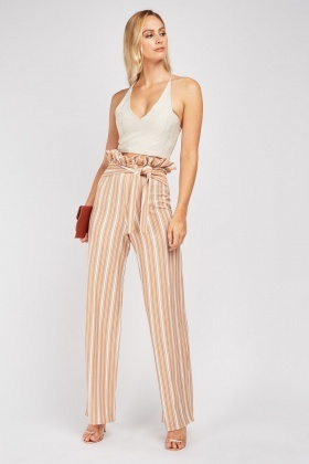 Wide Leg Belted Stripe Trousers