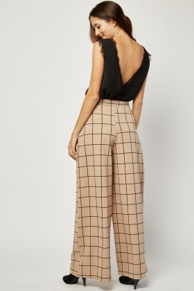 High Waist Windowpane Print Trousers