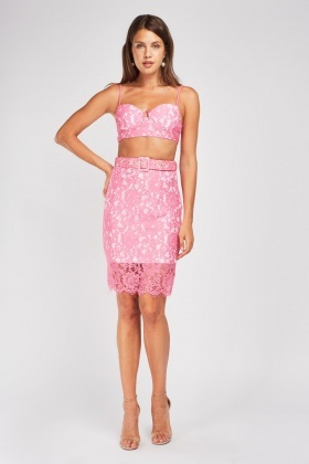 Lace Overlay Bralet And Skirt Set