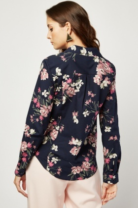 Long Sleeve Flower Pink Shirt