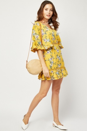 Printed Crochet Trim Tea Dress