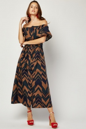 Ruffle Chevron Printed Midi Dress