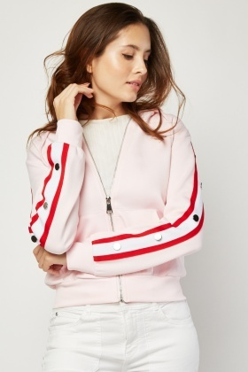 Stripe Side Zip Up Hoodie