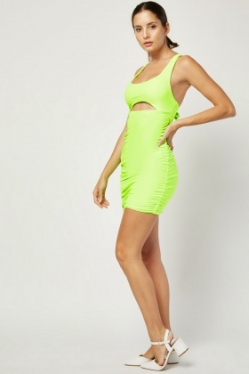 Tie Back Ruched Bodycon Dress