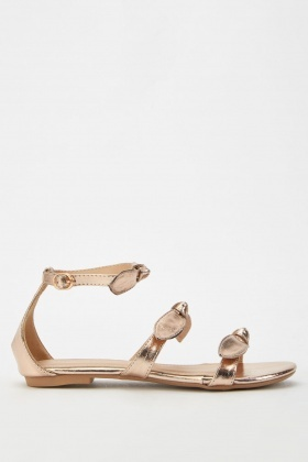 Metallic Bow Flat Sandals