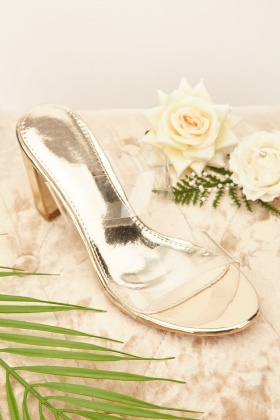 Metallic Transparent Strap Block Heels