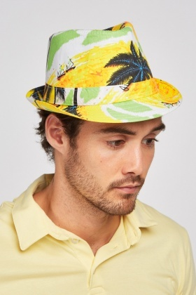 Palm Tree Print Trilby Hat